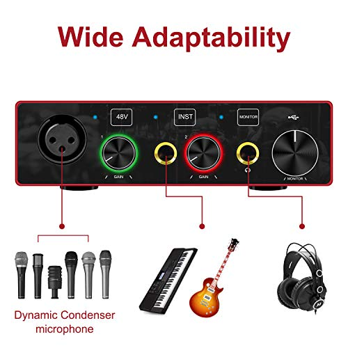 Oneme USB Audio Interface with XLR Cable(6.5ft Audio Interface with Mic Preamplifier Audio Mixer Recorder with 48V Phantom Power, 24 Bit, Support Computer and Equipment Recording (with XLR Cable)
