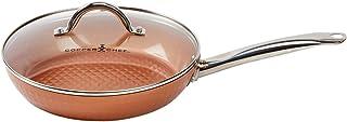 Copper Chef Sartén de diamante de 10 pulgadas | Sartén redonda con tapa | Sartén con cerámica antiadherente | Batería de cocina perfecta para saltear y asar