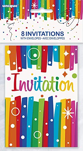 Unique Party - 49574 - Paquet de 8 Invitations de Fête Anniversaire Nœuds Arc-en-Ciel