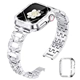 Goton Bling Band with Case Compatible with Apple Watch Bands 38mm 40mm 42mm 44mm,Women Jewelry Diamond Metal Wristband Strap with Glitter Bumper Cover for iWatch SE & Series 6/5/4/3/2/1 (Silver, 40mm)