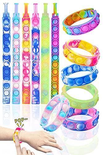 Push Pop Bracelet Fidget Toys - Multicolor Silicone Bracelets Wearable Stress Relieving Squeeze...