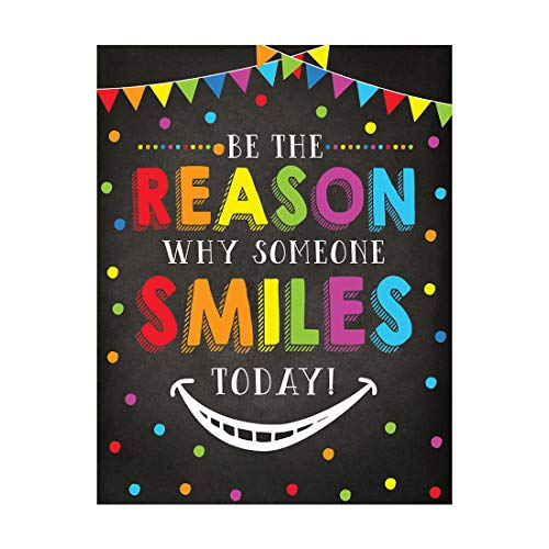 Andaz Press Classroom Teacher Wall Art Decor Poster Signs, 8.5x11-inch, Be The Reason Someone Smiles Today, 1-Pack, Unframed, Kids Motivational Quotes