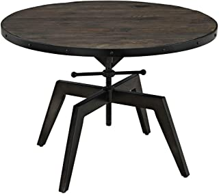 Living Room Wrought Iron Coffee Table/Solid Wood Side Table, Retro Home Small Table, Base Adjustable, Black/Brown, 3