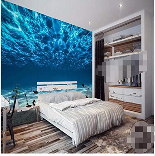 Suuyar Deep Sea Painting Photo Wallpaper Ocean Scenery Large Mural Bedroom Kids Room Background Wallpaper For Wall Home Decor, 360 Cm (W) X 230 Cm (H)
