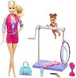 Barbie Métiers Coffret poupée coach de gymnastique blonde et son élève, avec barre et accessoires, jouet pour enfant, FKF75