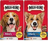 Milk Bone Minis Treats, Original and Flavored 15 Ounces (Pack of 2) with 30 Ct Dog Waste Bags with Dispenser (Bundle)