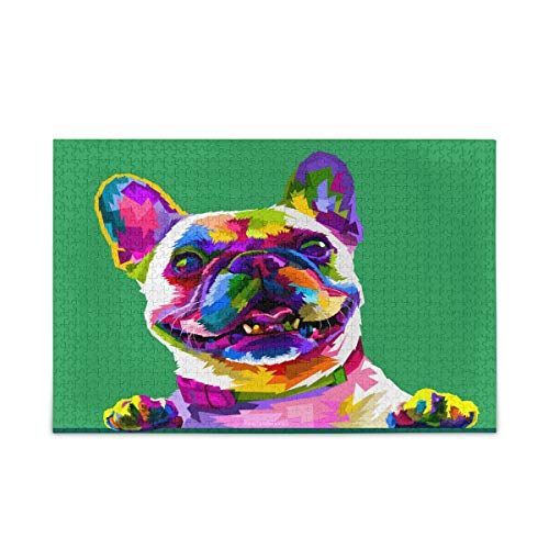 Nander 500 Pieces Jigsaw Puzzles Toys Funny French Bulldog Intellectual Educational Decompressing Puzzle Toy for Kids/Adults Birthday Gift
