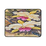 VvxXvx Original Oil Painting On Canvas Forest Orchids Pattern Portable and Foldable Blanket Mat 60x78 Inch Handy Mat for Camping Picnic Beach Indoor Outdoor Travel