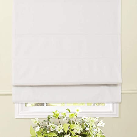 Artdix Roman Shades Blinds Window Shades Blackout Solid Thermal Fabric Custom Made Roman Shades for Windows 1 Piece Home White 45.5 W x 48L Inches Kitchen Living Room Doors