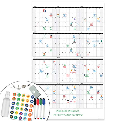 Lushleaf Designs - Large Dry Erase Wall Calendar - 24x39 Inches - Blank Undated 2021 Reusable Year Calendar - Whiteboard Yearly Poster - Laminated Office Jumbo 12 Month Calendar (Vertical)