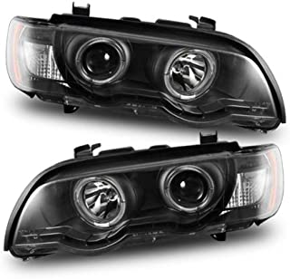 SPPC Projector Headlights Black Assembly Set Halo For BMW X5 E53 - (Pair) Driver Left and Passenger Right Side Replacement Headlamp
