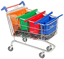 Four Trolly bags nestling in a shopping trolly. Pantry staples list printable, the top tip to organise your shopping.