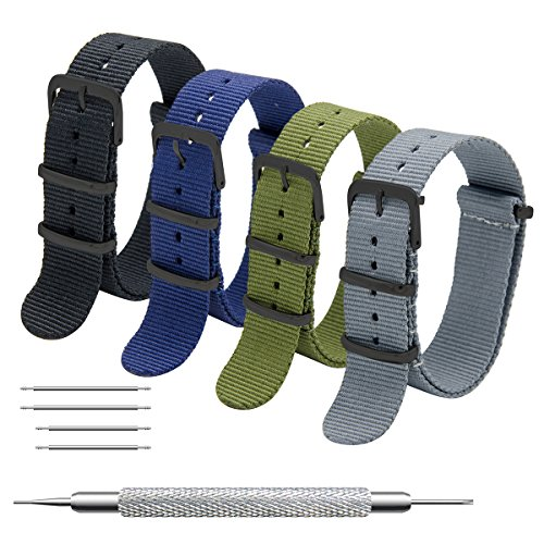 Uhrenarmband Packung mit 4 Nato Strap 16mm 18mm 20mm 22mm 24mm Ballistic Nylon Uhr Armband Zulu Uhrband mit Schwarz Edelstahl Schnalle