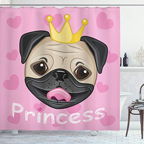 """Ambesonne Feminine Shower Curtain, Happy Smiling Cartoon and Pug Dog with Tiara Pink Hearts on Background, Cloth Fabric Bathroom Decor Set with Hooks, 70"""" Long, Yellow Black and Pink"""