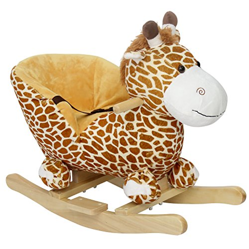 Peach Tree Rocking Horse Giraffe Rocker for Baby Ride on Giraffe Plush Wooden Riding Rocker with Sound, w/Seat Belts