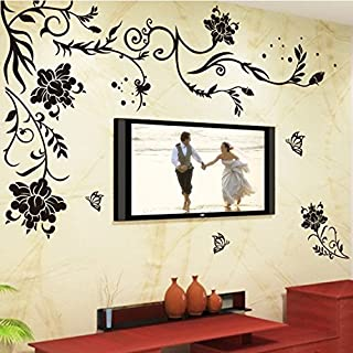 Golden Cart Wall Sticker Monochrome Flower and Butterfly Wall Art Decor for Living Room (PVC Vinyl Black Finished Size on ...