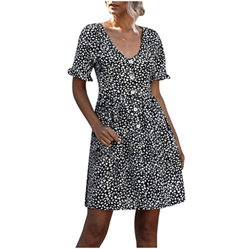 Lowest Prices! Women's V-Neck Print Short Sleeve Dress, Ladies Summer Polka Dot Ruffle Mini Dresses ...