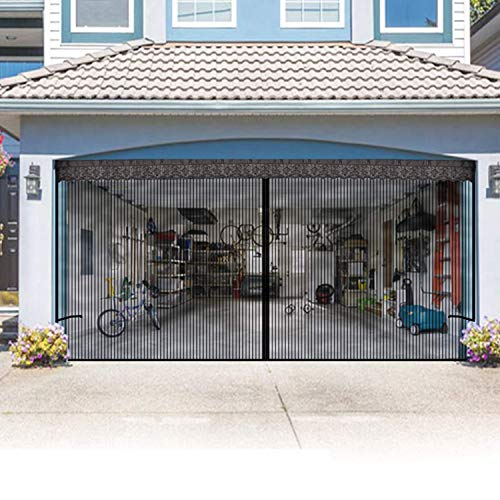 Garage Door Screen with Magnetic 9x7Ft for one car Garage - Magnetic Garage Screen Door Heavy Duty Mesh - Patio Porch Privacy Curtain