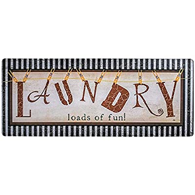 Ustide Vintage Style Waterproof Floor Runners Non Skid Kitchen Floor Mat Laundry Room Washhouse Mat Bathroom Rugs Non-Slip Rubber Area Rug 2x4