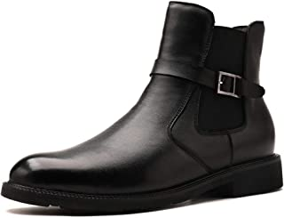 Casual shoes. Men High Top Shoes Side Zipper Elastic Solid Color Round Toe Buckle Decor Anti-skid Genuine Leather (Color : Black fleece lined, Size : 47 EU)