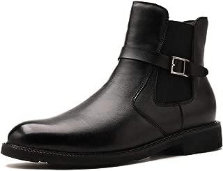 HXSD Men's high-top Shoes Side Zipper Elastic Solid Color Round Head Buckle Buckle Decorative Non-Slip Leather High-end Men's Shoes (Color : Black, Size : 6.5 M US)