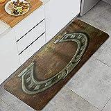 Alfombra de cocina, herradura oxidada antigua vintage rústico, impermeable que no es patín de cocina suave lavable alfombrillas de comodidad alfombras para baño de cocina sala de reuniones sala de est