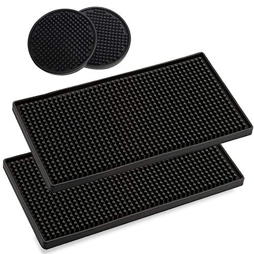 2 tappetini da bagno in gomma, 30 x 15 cm, per asciugare le stoviglie, asciugatura rapida di bicchieri, nero, per bar, club, cucina, ristoranti e banconi con 2 sottobicchieri