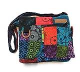 Bolso de hombro en algodón para las mujeres étnico indio, bolso de patchwork, multicolor,