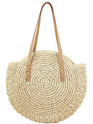 Strohhandtaschen für Damen, handgewebt, rund, Maisstrohbeutel, natürlich, schick, groß, für Sommer, Strand, Tragetasche mit gewebtem Griff, Beige (beige), X-Large