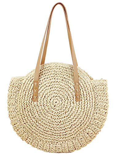 Straw Handbags Women Handwoven Round Corn Straw Bags Natural Chic Hand Large Summer Beach Tote Woven Handle Shoulder Bag (Beige)