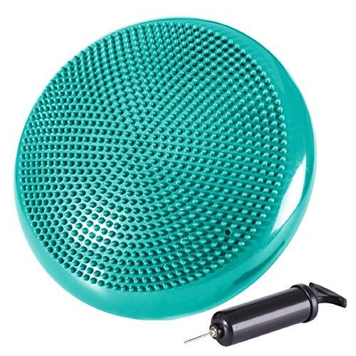 REEHUT Pedana Propriocettiva Equilibrio Stabilità Manuale Elettronico Gratuito - Gonfiabile con Pompa Aria per Esercizi Terapia Fitness Allenamento - Verde