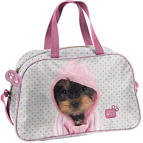 Ragusa-Trade Studio Pets - Hunde Welpen Sporttasche Reisetasche mit süßen Hundewelpen als Motiv (PTJ) für Jungen und Mädchen, Silber/rosa, 40 x 25 x 13 cm