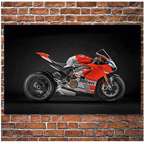 HHLSS Wunderschönes Bild 60x80cm ohne Rahmen Superbike Ducati Motorrad Rotes Auto Bild Leinwand Poster Drucke Wandkunst