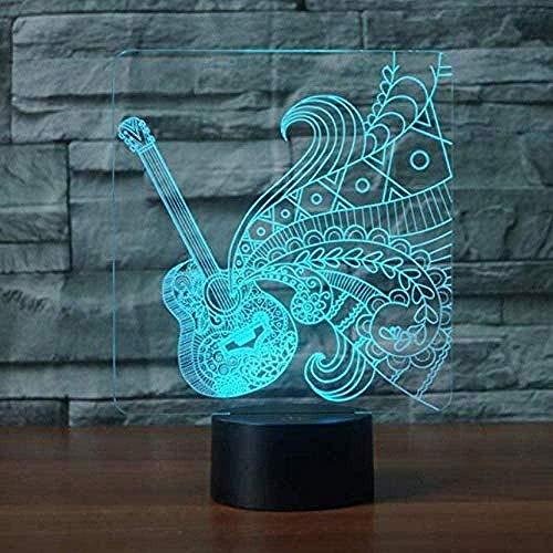Luz De Noche Forma De Guitarra 3D Led Luz De Noche