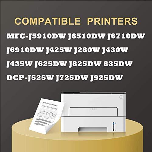Cartucho de tinta LC400, cartuchos de tinta de alto rendimiento para impresoras Brother MFC-J5910DW J825 430W DCP-J525W J725DW compatibles (4 unidades) combinación x 3