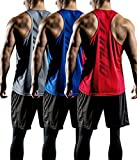 ATHLIO Men's Dry Fit Muscle Workout Tank Tops, Y-Back Bodybuilding Gym Shirts, Athletic Fitness Tank Top, Active Y-Back 3pack(ctn03) - Blue/Grey/Red, Small