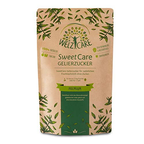 SweetCare PREMIUM Gelierzucker - Zuckerersatz – 100{cdd4bf2279fd7f974c174df3ed425cbcc5f141510ce6fea31ef206bf489b68fb} Vegan – keine Kalorien – Low Carb – mit Erythritol und Stevia – Made in Germany - 200g