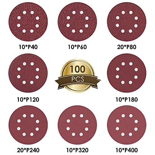 FORTRY 100 St Schleifscheiben 125mm Klett Set: je 10x P40/P60/P120/P180/P320/P400, 20x P80/P240, Schleifpapier 8 Löcher rund, Exzenterschleifer Schleifblätter Set für Holz, Metall, Farbe, Kunststoff
