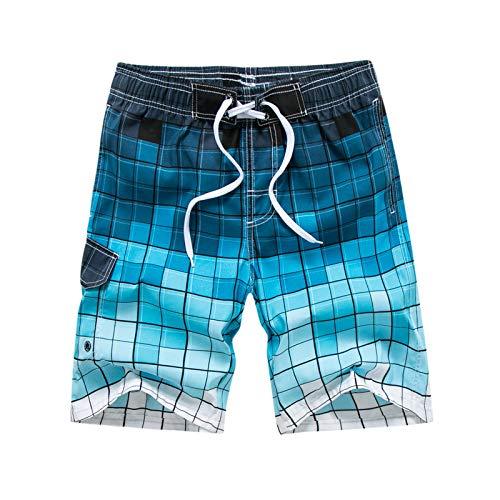 YLBH Pantalones De Playa para Hombre Pantalones De Surf para Vacaciones En La Playa Pantalones Cortos Caseros Casuales para Hombres Sweatpant PantalóN Corto Vaqueros para EláStico Azul 5XL 🔥
