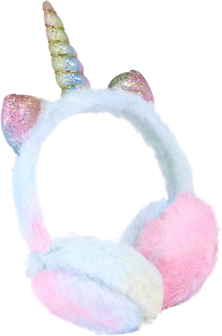 Blue BESPORTBLE Kids Unicorn Earmuffs Plush Winter Ear Warmers Foldable Ear Muffs Cover for Women Kids Girls Adults Outdoor Christmas