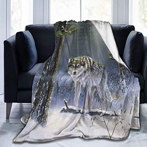 CHUNXU Manta – Manta de forro polar de lobo de invierno, súper suave, ultrasuave, cómoda, manta de microforro polar para cama suave de 152 x 127 cm