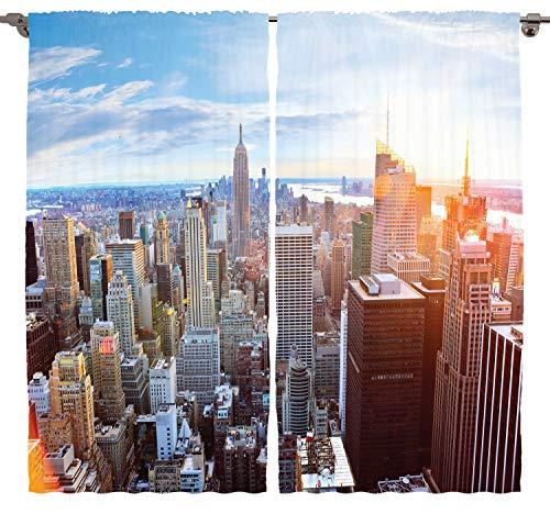 ABAKUHAUS New York Rustikaler Vorhang, Finanzviertel, Wohnzimmer Universalband Gardinen mit Schlaufen und Haken, 280 x 225 cm, Mehrfarbig