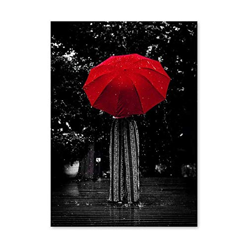 Regendame mit rotem Regenschirm, rahmenlosem Leinwandplakat, Wohnzimmerschlafzimmer-60x80cm dekorierend