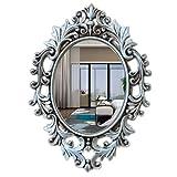 Dongyd Espejo de baño Europeo Pared Antigua Vieja Espejo colgado Decorativo Espejo de Maquillaje señoras de Vestir Espejo Home67 * 48cm (Color : Ancient Silver)