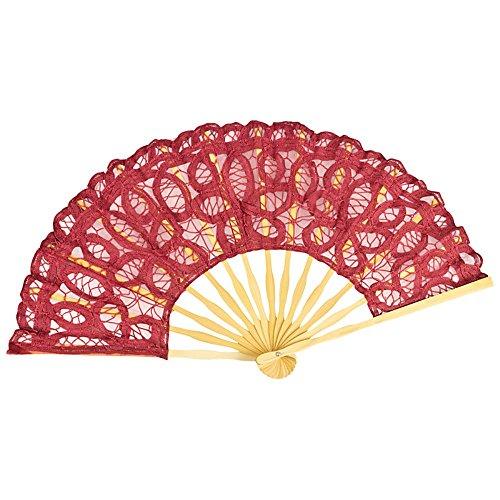 VON LILIENFELD Fächer Carmen handgeklöppelte Spitze Bambusstäbe Handfächer Hochzeitsfächer Deko Burgunderrot Bordeaux