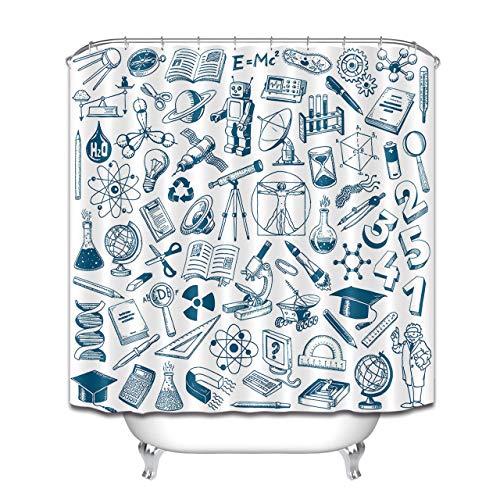 JHTRSJYTJ Poliéster Ciencia y educación Icono de Graffiti Impermeable Cortina de Ducha Material de poliéster Lavable a máquina baño Esencial