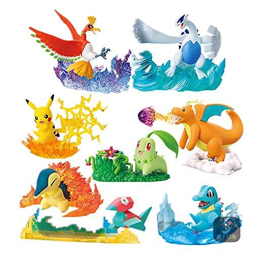 Klycbds 8Pcs / Set Pokemon Pocket Monster Pikachu Spielzeug, Ho-Oh Lugia Figur Elfenpuppenszenen Charizard Actionfigur Kinder Geschenk