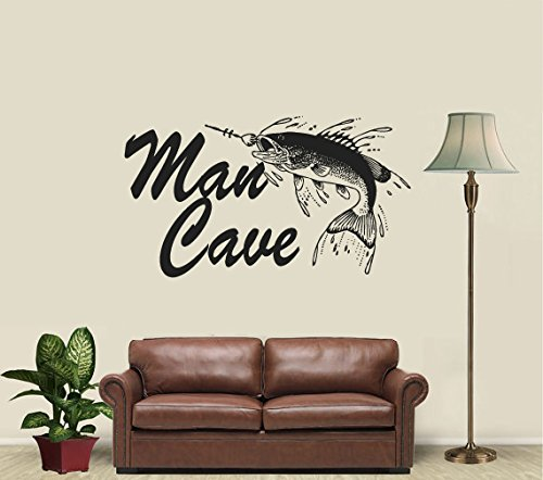 CreativeWallDecals Wall Decal Vinyl Sticker Decals Art Decor Design Sign Man Cave Gift Fishing Fish Father Day Hobby Family Love Dorm Kid Mural Bedroom(r535)