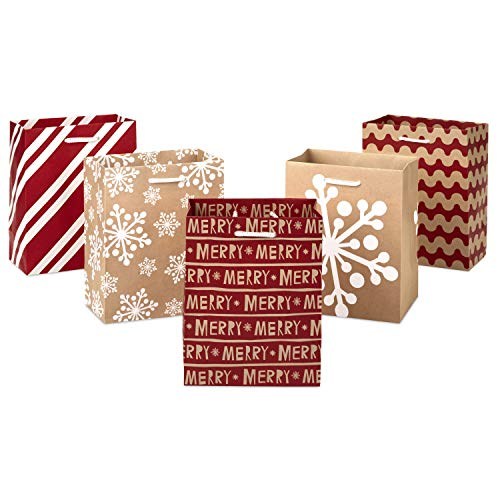 Hallmark 6' Small Holiday Gift Bag Set (Pack of 5; Red, White and Kraft) Snowflakes, Stripes, Merry