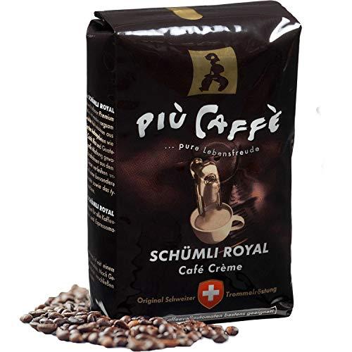 più caffè Café Crème Kaffeebohnen, würzig, kräftig, intensiv und gehaltvoll, Arabica und Robusta, Schweizer Trommelröstung, ganze Bohnen für Vollautomaten Schümli Royal 1 kg